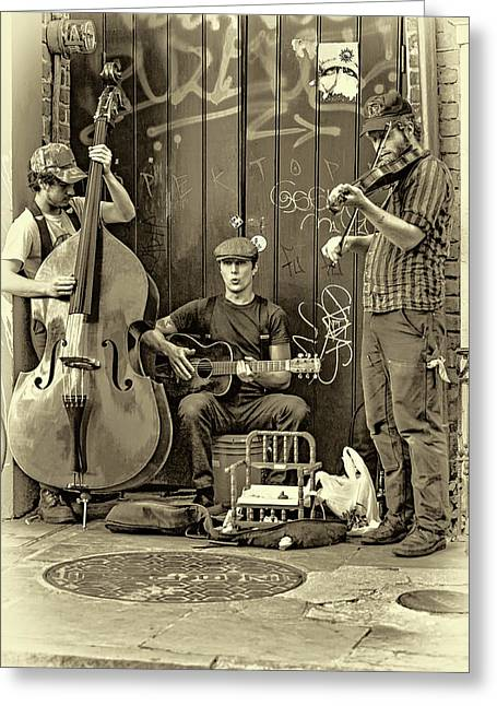 New Orleans Street Musicians - Paint Sepia Greeting Card