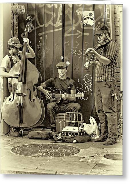 New Orleans Street Musicians - Paint Sepia Greeting Card by Steve Harrington