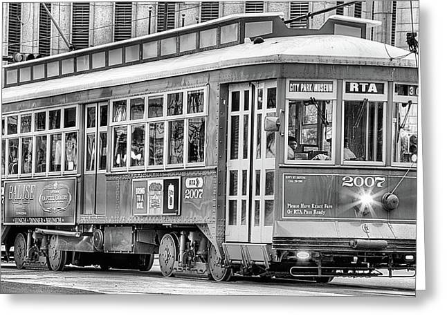 New Orleans Streetcar In Black And White Greeting Card