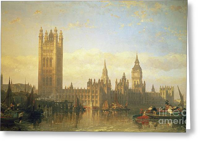 """sailing Ship"" Greeting Cards - New Palace of Westminster from the River Thames Greeting Card by David Roberts"