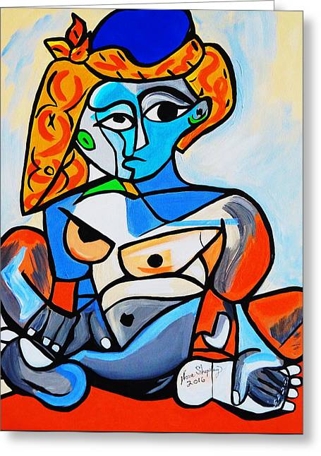New  Picasso By Nora  Nude Woman With Turkish Bonnet Greeting Card