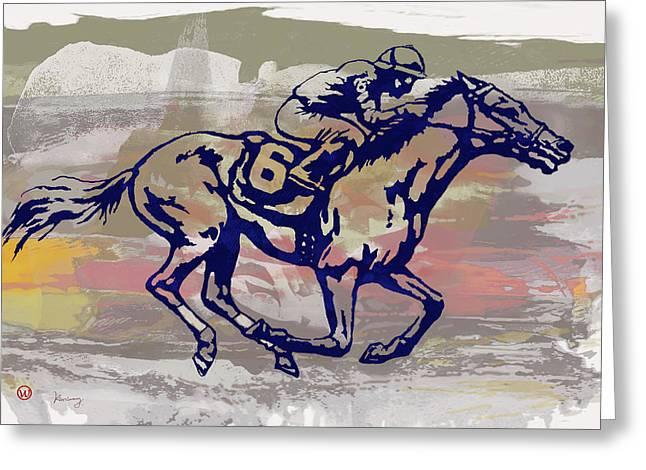 New Racing Horse  -  Pop Art Poser Greeting Card