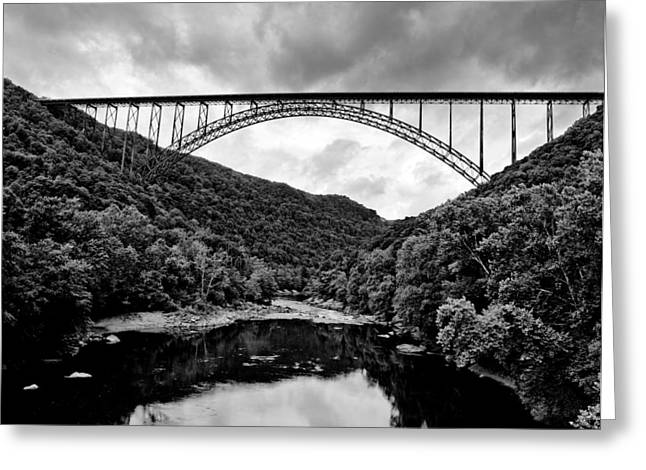 New River Gorge Bridge In West Virginia Black And White Greeting Card