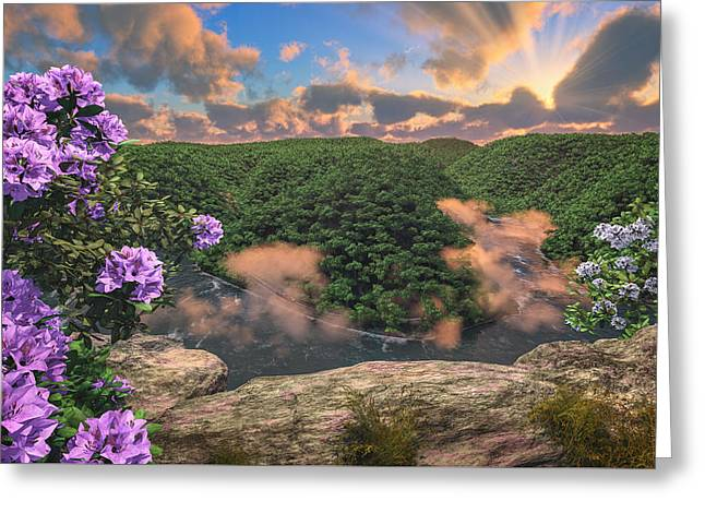 New River Gorge Grandview Greeting Card by Mary Almond