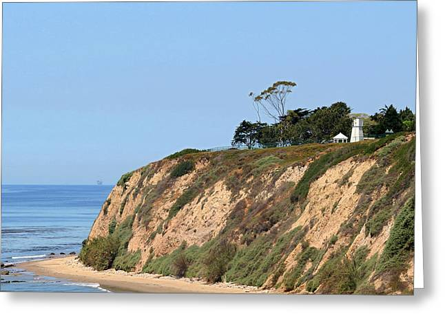 Historic Lighthouses Greeting Cards - New Santa Barbara Lighthouse - Santa Barbara CA Greeting Card by Christine Till