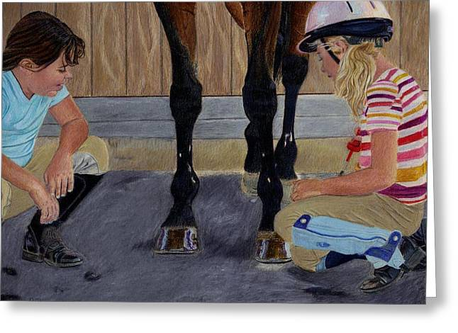 New Shoe Review Horse And Children Painting Greeting Card