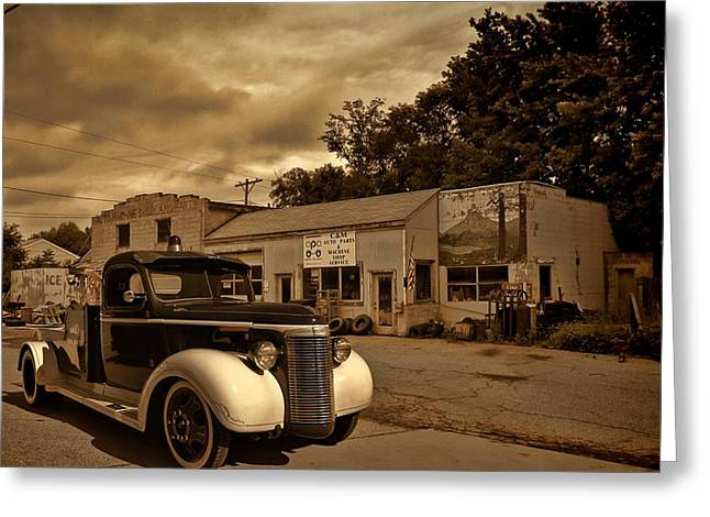 New Shop Tow Truck Greeting Card
