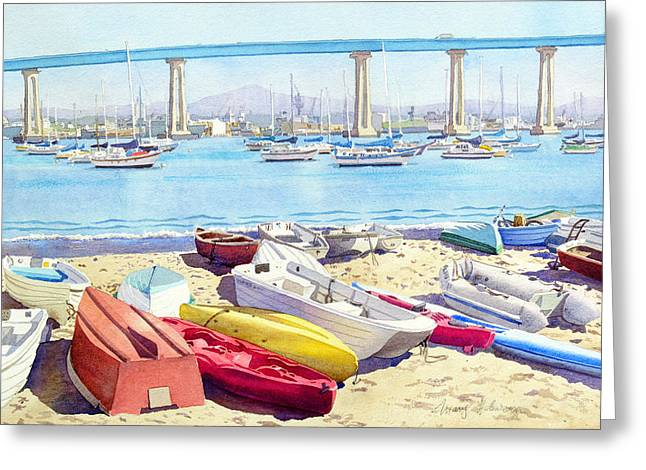 Dinghy Greeting Cards - New Tidelands Park Coronado Greeting Card by Mary Helmreich