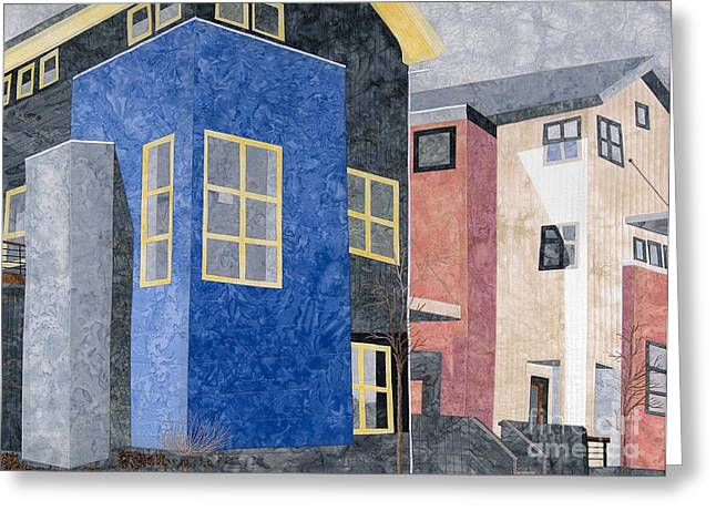 City Buildings Tapestries - Textiles Greeting Cards - New Urbanism Greeting Card by Carol Ann Waugh