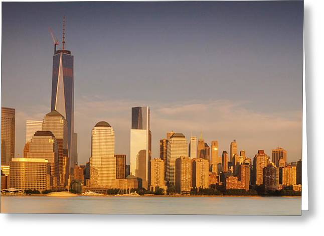 New World Trade Memorial Center And New York City Skyline Panorama Greeting Card