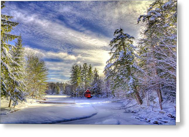 New Year Snow At The Red Boathouse Greeting Card by David Patterson