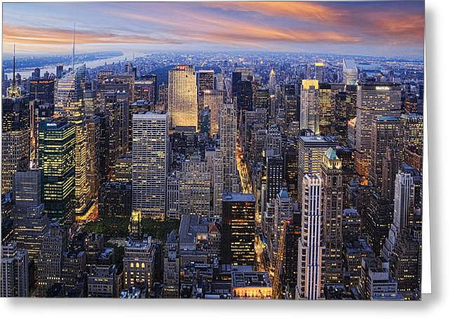 New York At Night Greeting Card by Kelley King