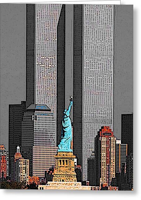 New York 911 Memory - Twin Towers And Statue Of Liberty Greeting Card