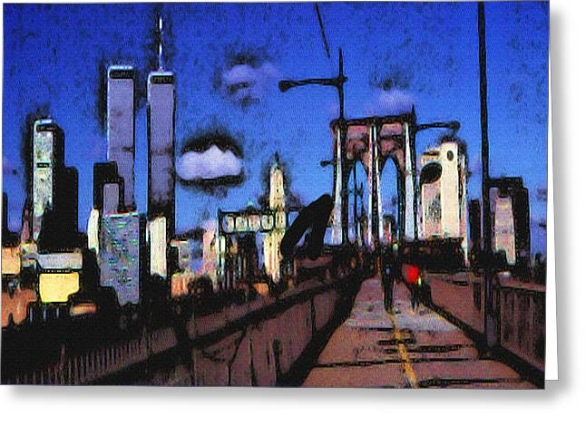 New York Blue - Modern Art Greeting Card
