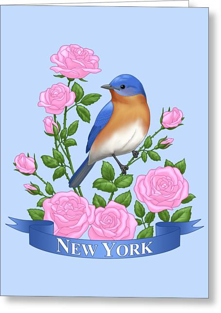 New York Bluebird And Pink Roses Greeting Card