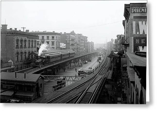New York Bowery At Grand St.  1900 Greeting Card by Daniel Hagerman
