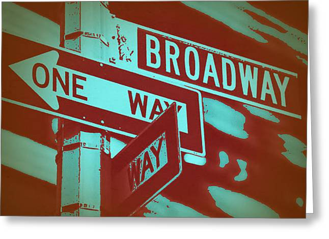 Manhattan Greeting Cards - New York Broadway Sign Greeting Card by Naxart Studio