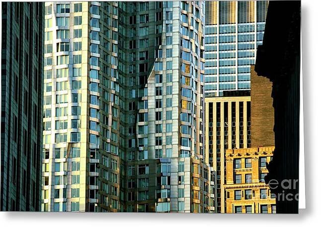 Greeting Card featuring the photograph New York By Gehry by John Rizzuto