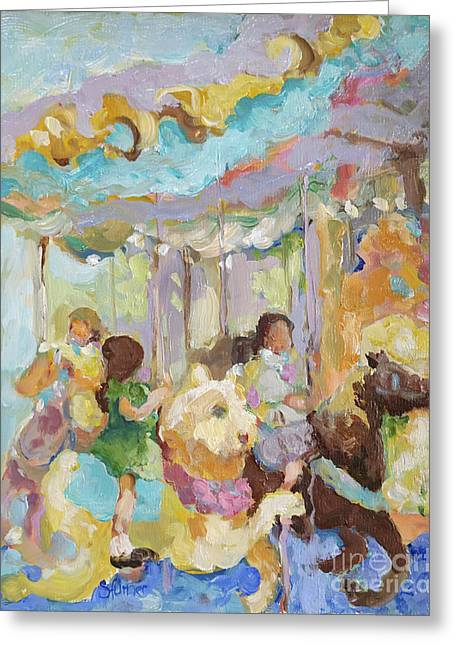 New York Carousel Greeting Card by Sharon Furner