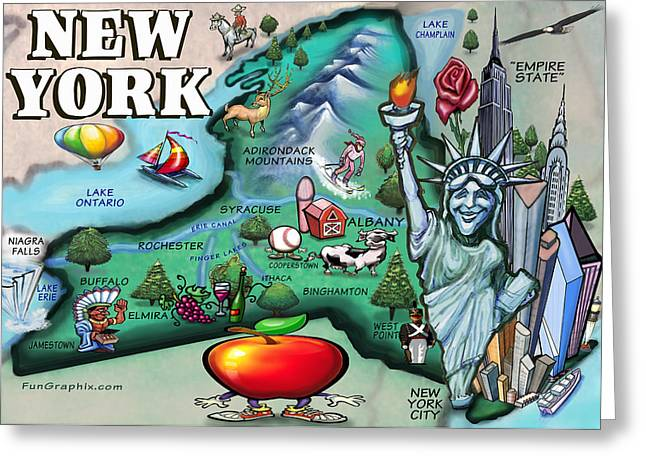 New York Cartoon Map Greeting Card