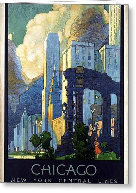 New York Central Lines, Chicago - Retro Travel Poster - Vintage Poster Greeting Card