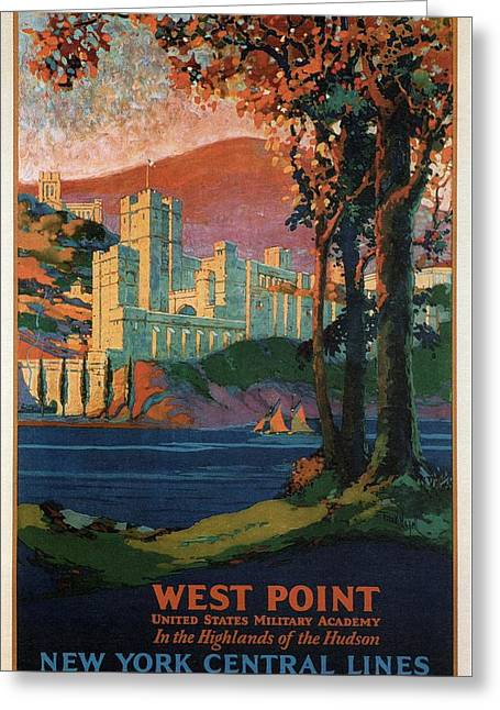 New York Central Lines - West Point - Retro Travel Poster - Vintage Poster Greeting Card