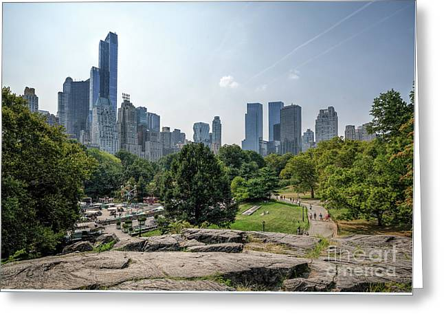 New York Central Park With Skyline Greeting Card