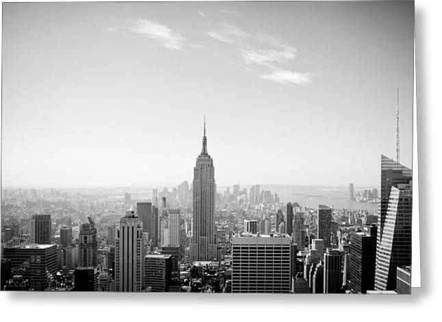 Top Of The Rock Greeting Cards - New York City - Empire State Building Panorama Black and White Greeting Card by Thomas Richter