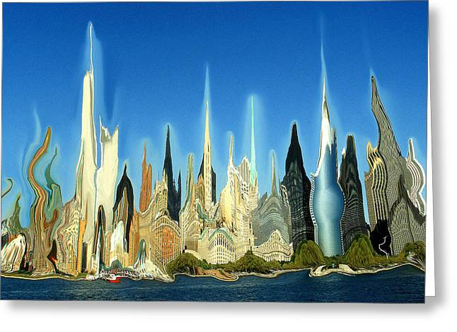 New York City 2100 - Modern Art Greeting Card