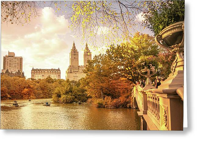 New York City Autumn Landscape Greeting Card by Vivienne Gucwa