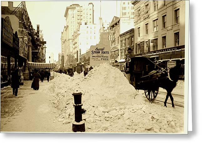New York City Blizzard 1904 Greeting Card by L O C