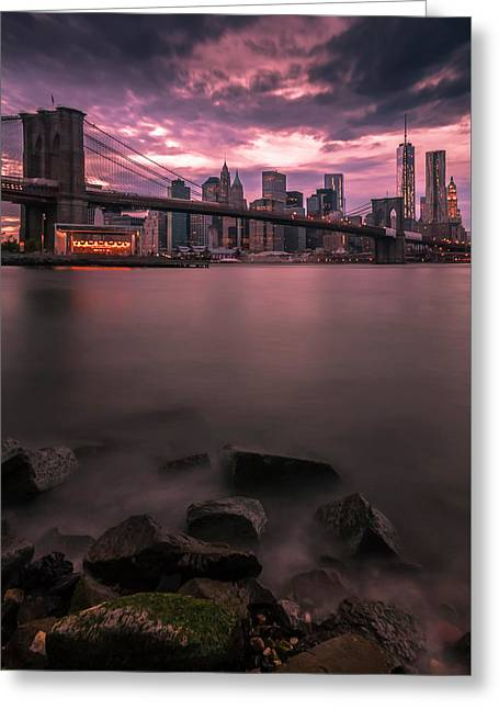 Greeting Card featuring the photograph New York City Brooklyn Bridge Sunset by Ranjay Mitra