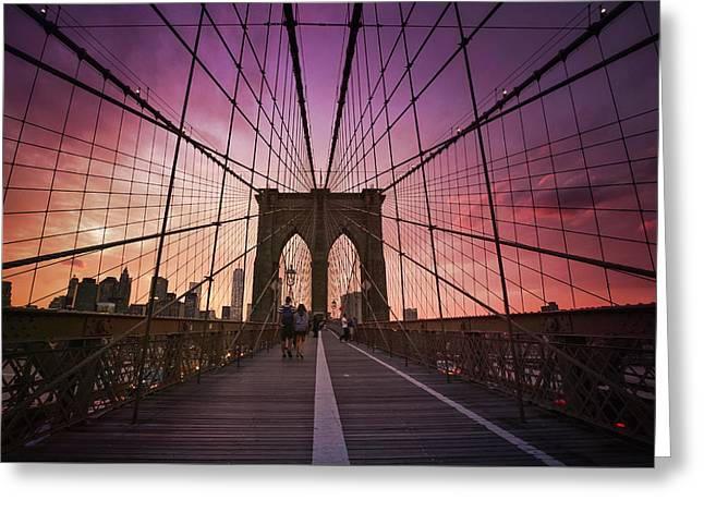 New York City - Brooklyn Bridge Sunset Greeting Card by Vivienne Gucwa