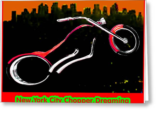 New York City Chopper Dreaming Red Jgibney The Museum Zazzle Gifts Fa Greeting Card by The MUSEUM Artist Series jGibney