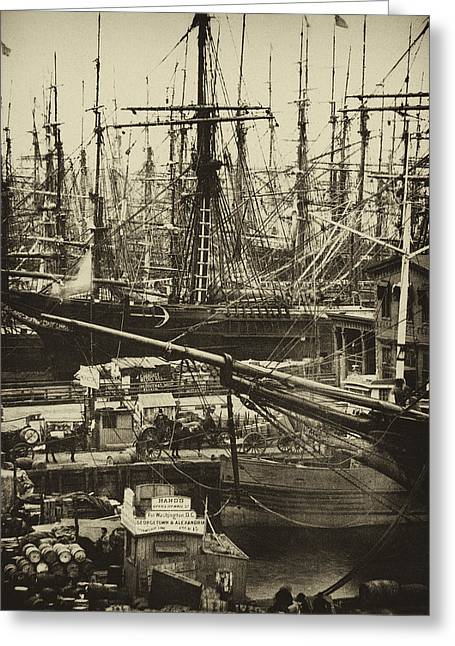 New York City Docks - 1800s Greeting Card by Paul W Faust -  Impressions of Light