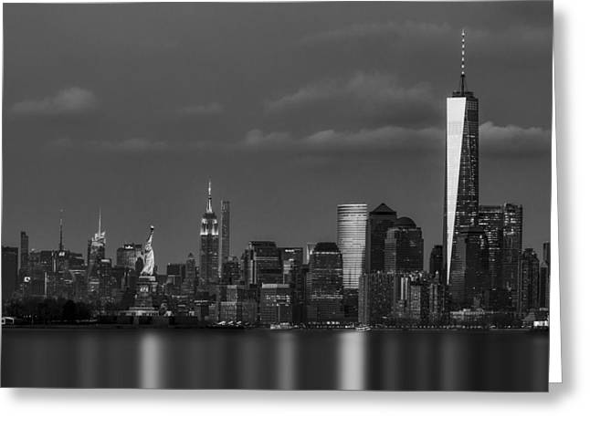 Greeting Card featuring the photograph New York City Icons Bw by Susan Candelario