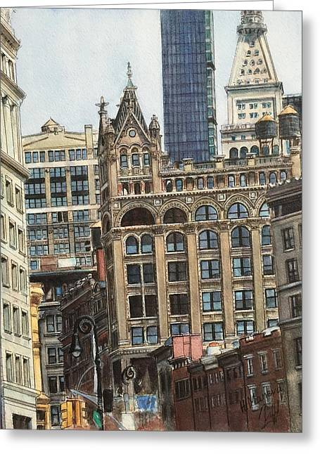 New York City IIi- Union Square/ Broadway Greeting Card by Henrieta Maneva