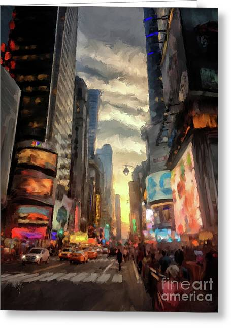 New York City Lights Greeting Card by Lois Bryan