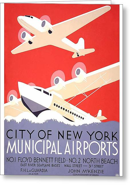 New York City Municipal Airports - Vintage Illustrated Poster Greeting Card