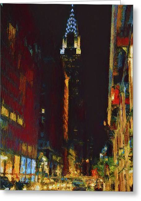 New York City Night Lights Greeting Card by Dan Sproul