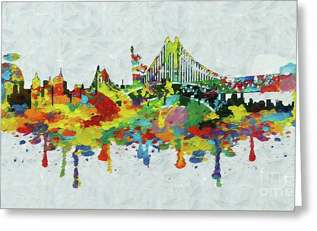 New York City Panorama Greeting Card by Stefano Senise