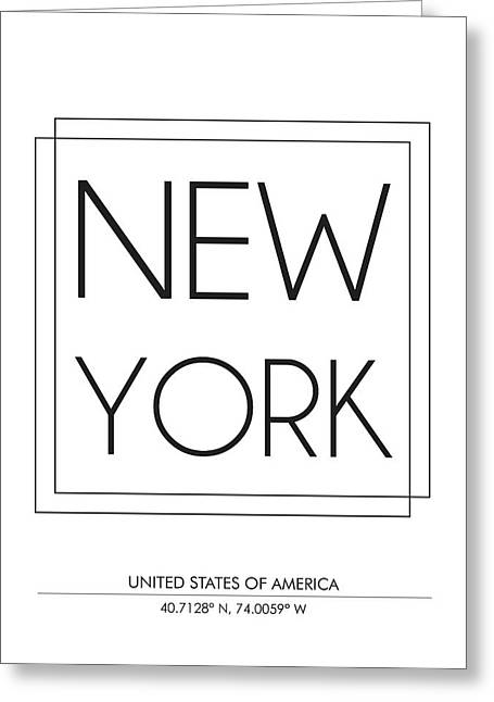 New York City Print With Coordinates Greeting Card