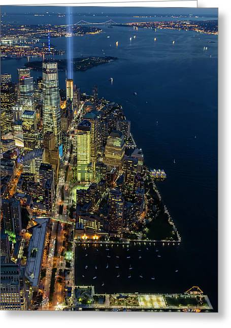 Greeting Card featuring the photograph New York City Remembers 911 by Susan Candelario