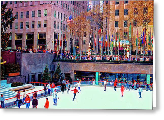 Greeting Card featuring the photograph  New York City Rockefeller Center Ice Rink  by Tom Jelen