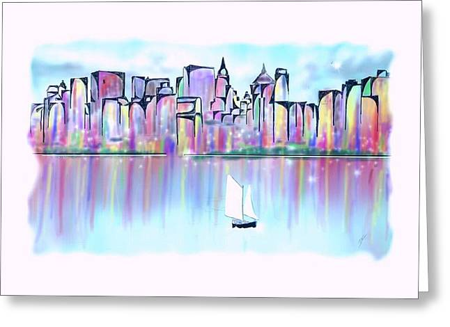 Greeting Card featuring the digital art New York City Scape by Darren Cannell