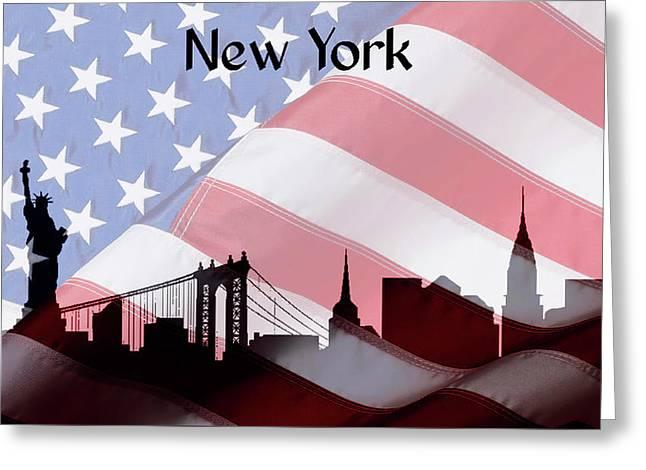New York City Skyline American Flag Greeting Card by Dan Sproul