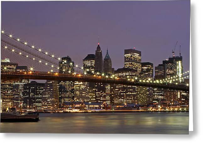 New York City Skyline And Brooklyn Bridge  Greeting Card by Juergen Roth