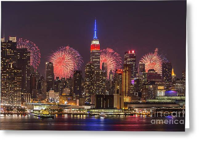 New York City Skyline And Fireworks I Greeting Card