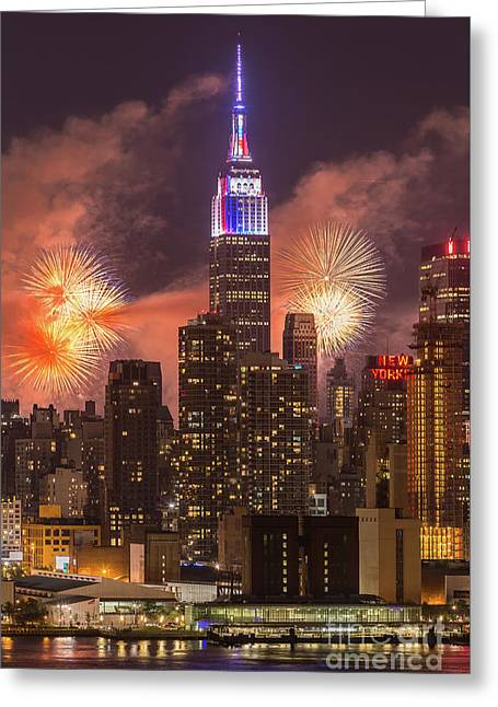 New York City Skyline And Fireworks II Greeting Card