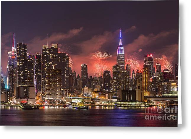 New York City Skyline And Fireworks IIi Greeting Card